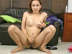 Naughty Asian T-Girl Plays With Her Boner 1