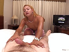 After a deep rimming Ning turns around for a doggystyle view. Doesn`t her oiled up ass look like sunshine? There`s only one logical next step, and it`s his dick sliding deep between those oiled up buns. HOT! His white hard dick penetrates her in doggystyl