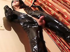 Tgirl Kanato is a woman who enjoys fetish things like wearing a very tight black outfit that provides sufficient peek-a-boo shots of her big hard dick and nice looking nipples.