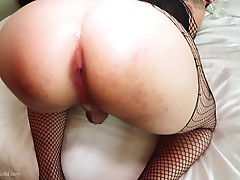 Tata bends over on the couch and plays with her moist asshole some more. She has my cock nice and hard, so I put it in front of her and she goes to work on it with her mouth. Tata takes me over to the bed where she gives me a thorough rimming and more coc