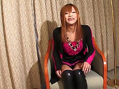 Sayaka Ayasaki Is rocking it out in this hot solo scene. She loves to show off her petite body, nice tits and rock hard tgirl cock for you to enjoy.