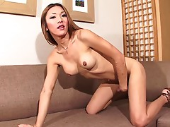 Tgirl Karina is a lovely woman who looks like a breathe of fresh air during her solo shoot. Her sexy legs are always highlighted while wearing her flowing skirt. Once indoors, Karina pulls it up and her legs and dick become marvels to stare at. Her playfu