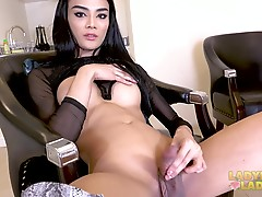 This super sexy ladydoy from Pattaya is to die for. She is simply stunning. The amazing beauty of this newly found Grooby girl can stir anyone's imagination. Her big titties, nice long legs and gorgeous cock are sweet, lovely and tempting. Watch her as sh